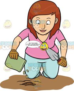 A woman planting seeds. Seedling clipart plant face