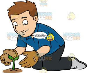 A man taking good. Gardening clipart plant care