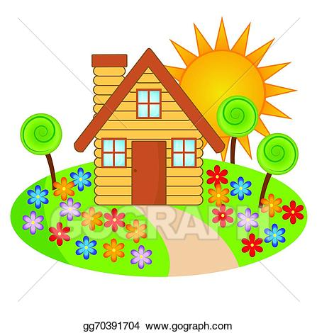 Vector art with a. Hut clipart beautiful house