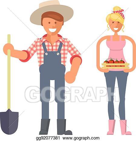 Eps vector farmers gardeners. Gardener clipart family