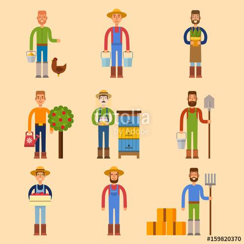 Farmer character man agriculture. Gardener clipart farm worker