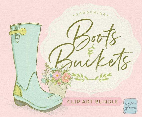 Spring set boots buckets. Gardening clipart garden boot