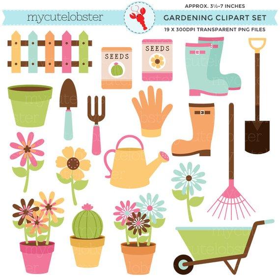 Set flowers clip art. Gardening clipart garden boot