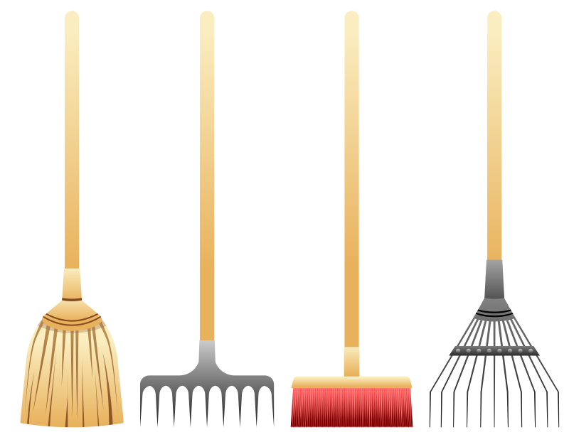 Brooms and rakes medium. Gardener clipart garden rake