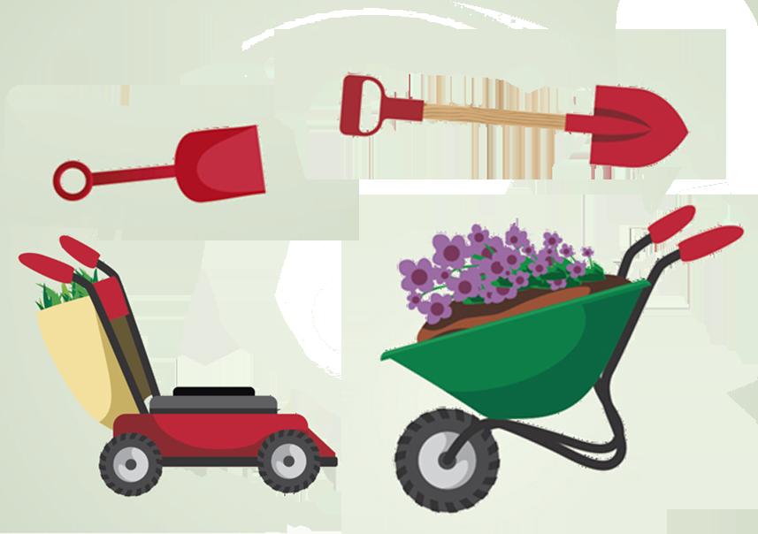Gardener clipart garden spade. Tool cartoon gardening painted