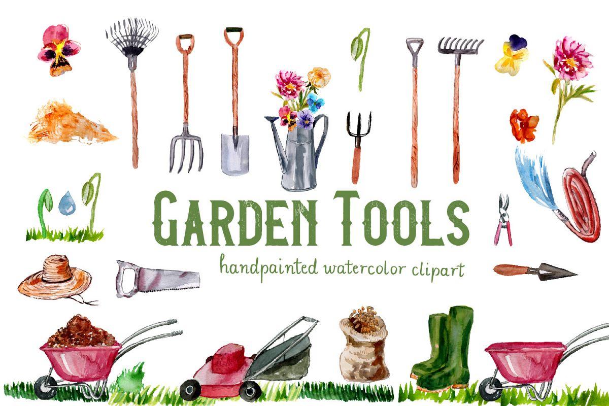 Gardening clipart watercolor. Garden tools hand painted