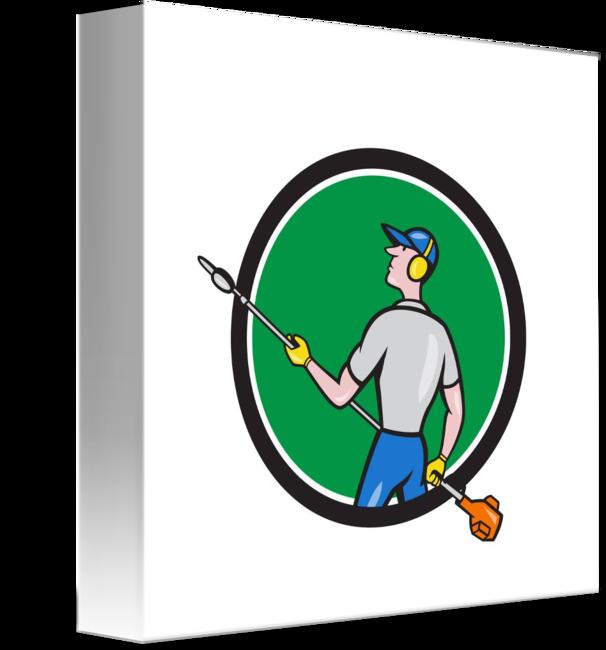 Gardener clipart handyman. Hedge trimmer circle cartoon