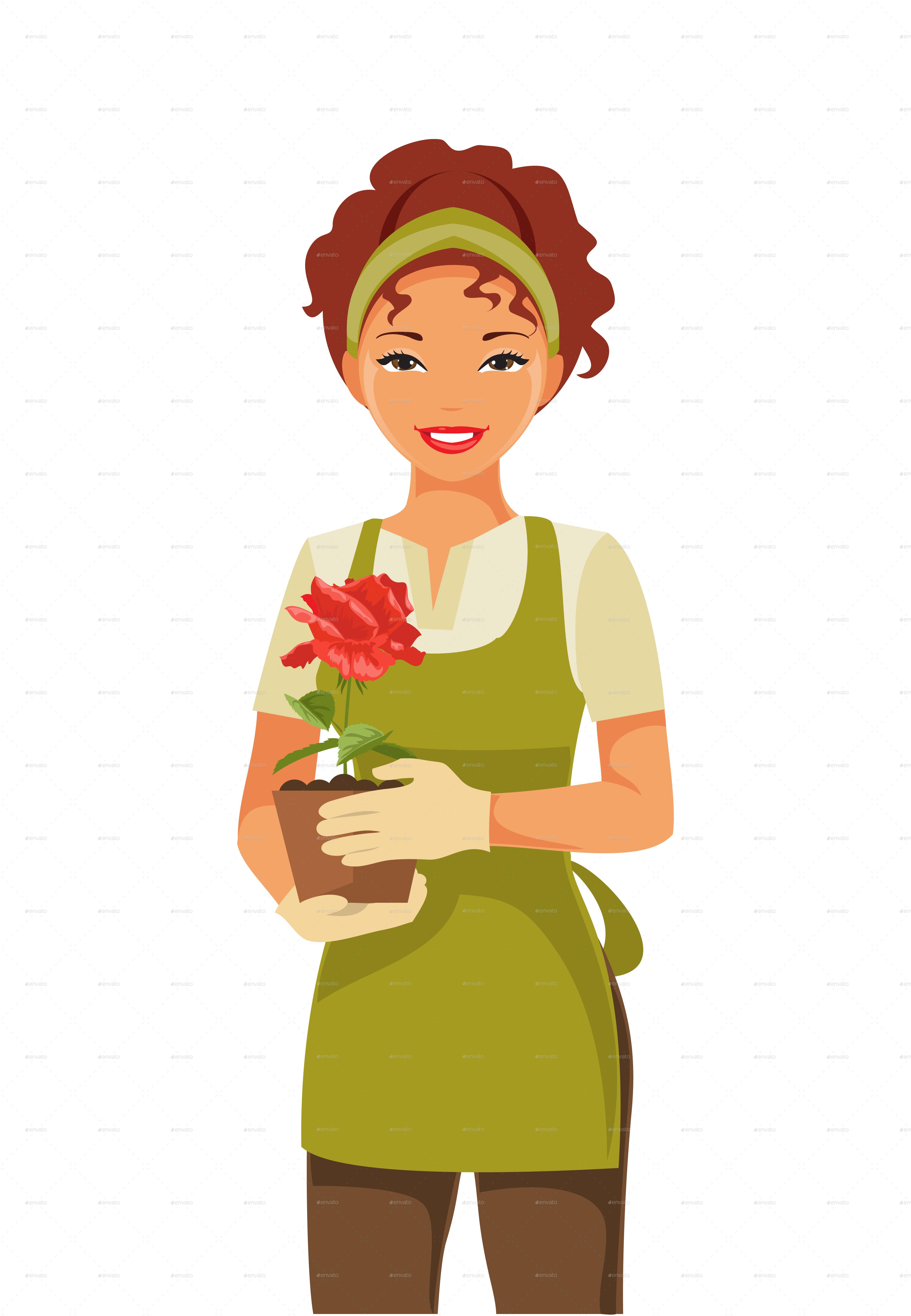 Gardener clipart lady gardener. Woman
