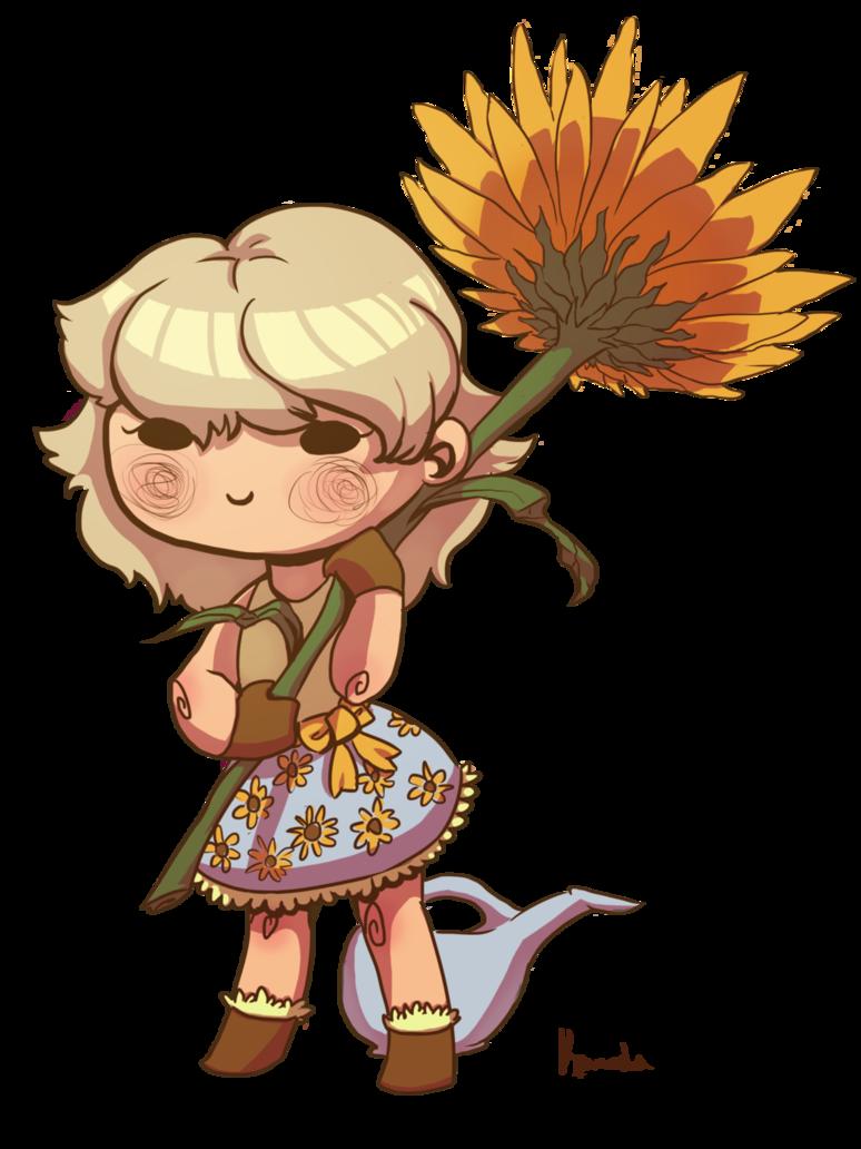Gardener clipart lady gardener. Sunflower by kamocha on