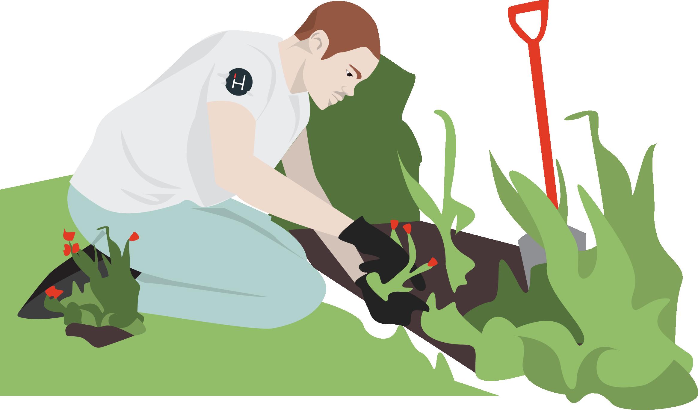 Your homyze spring garden. Gardener clipart little
