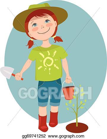 Gardener clipart little. Eps illustration girl vector