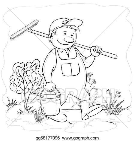 Stock illustration man in. Gardener clipart male gardener