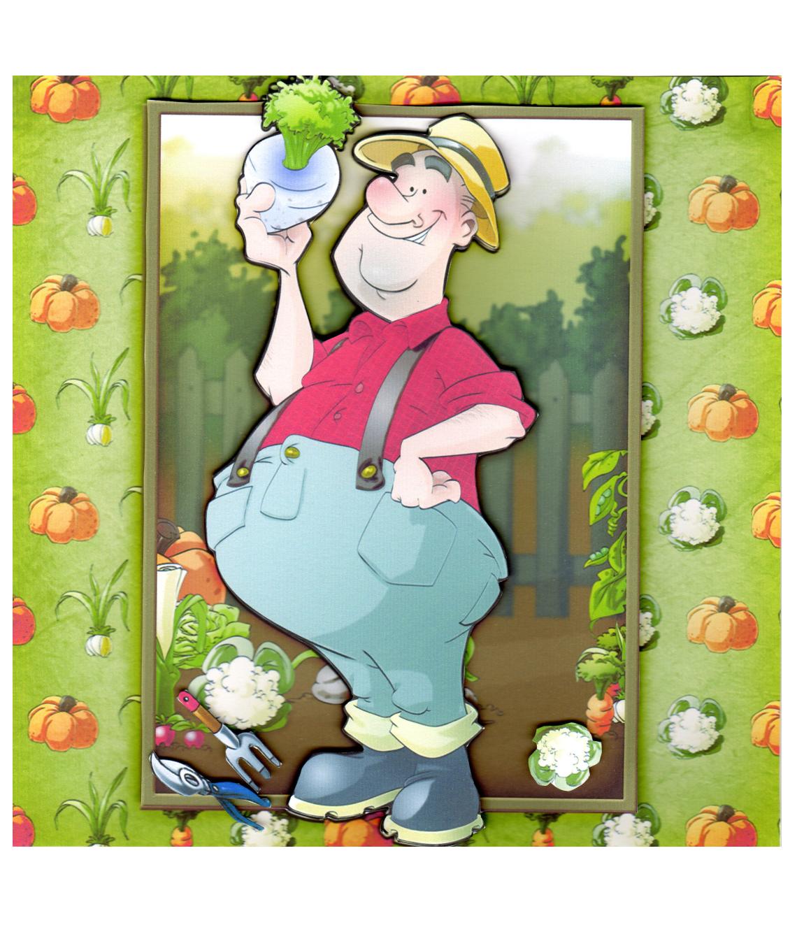 Gardener clipart male gardener. Vegetable handmade cards by