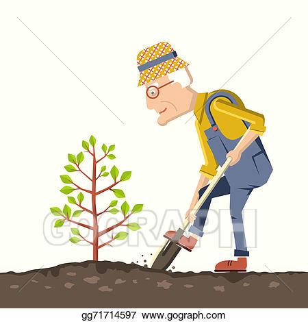 Gardener clipart male gardener. Stock illustration old man