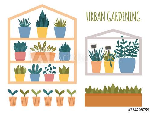Urban gardening set with. Gardener clipart mini garden