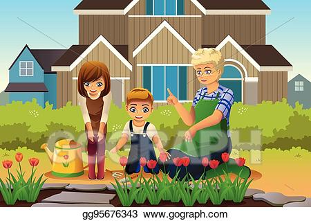 Gardening clipart mother. Vector illustration and children