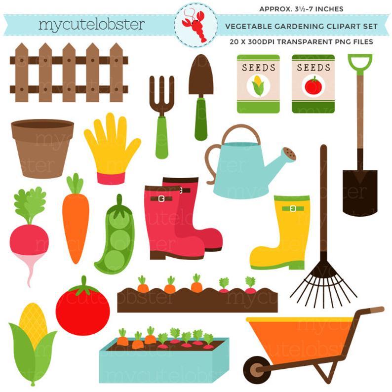 Gardener clipart name. Vegetable gardening set garden