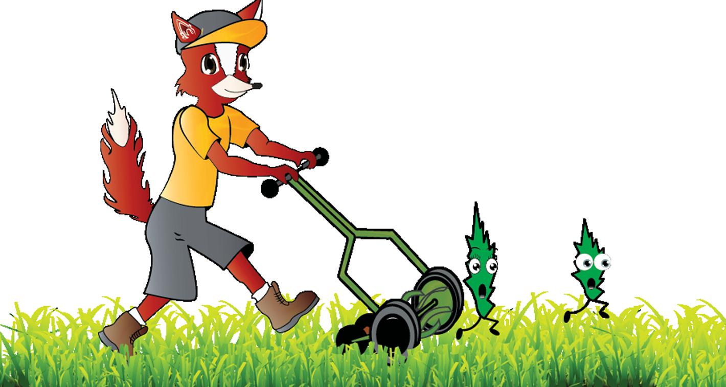 Cutting grassblades x fox. Gardener clipart nature