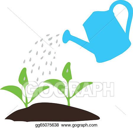 Vector art watering pot. Gardener clipart nature