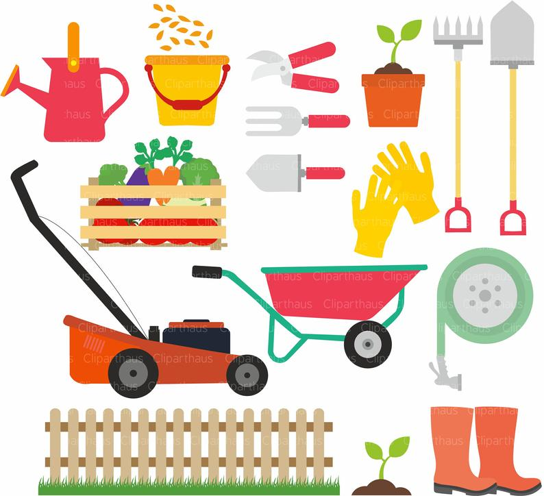Gardener clipart nursery garden. Gardening tools svg vector