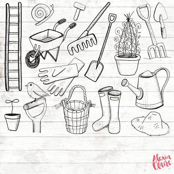 Gardener clipart nursery garden. Gardening hand drawn logo