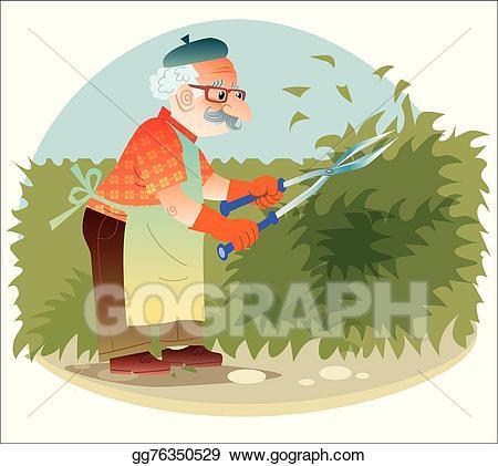 Gardener clipart old gardener. Vector the working in