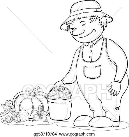 Eps vector with vegetables. Gardener clipart outline