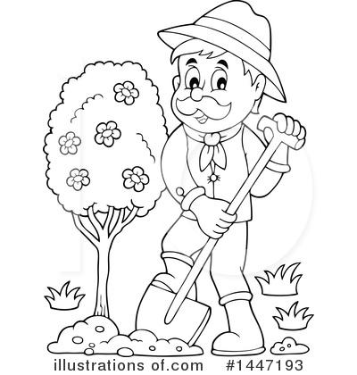 Gardener clipart outline. Illustration by visekart