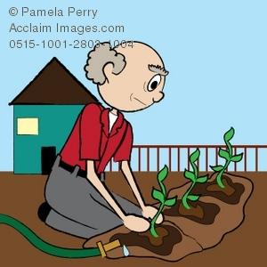 Gardening clipart old man. Clip art illustration of