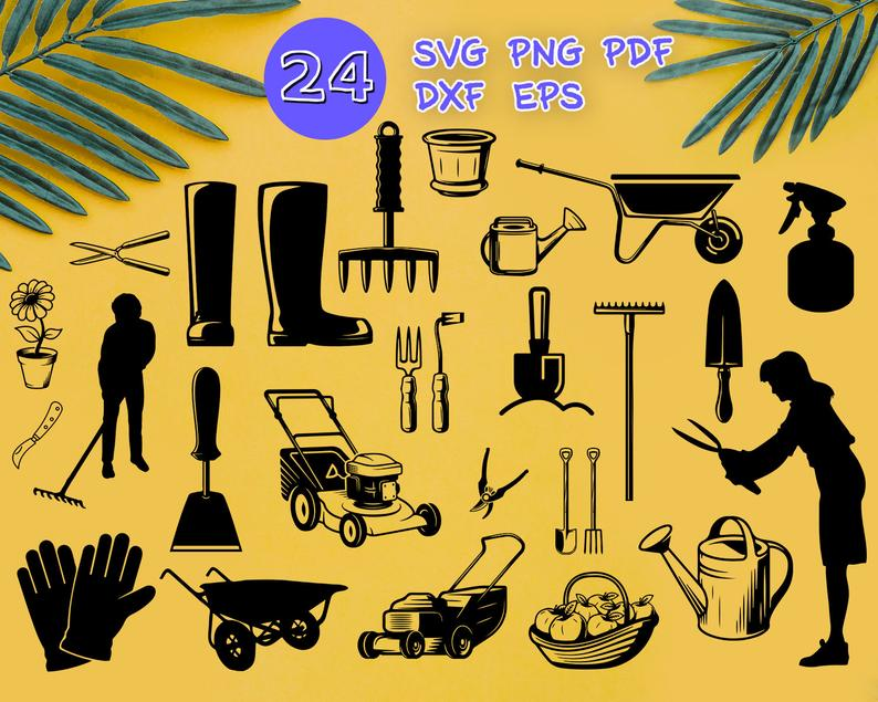 Garden tools gardening silhouette. Gardener clipart svg