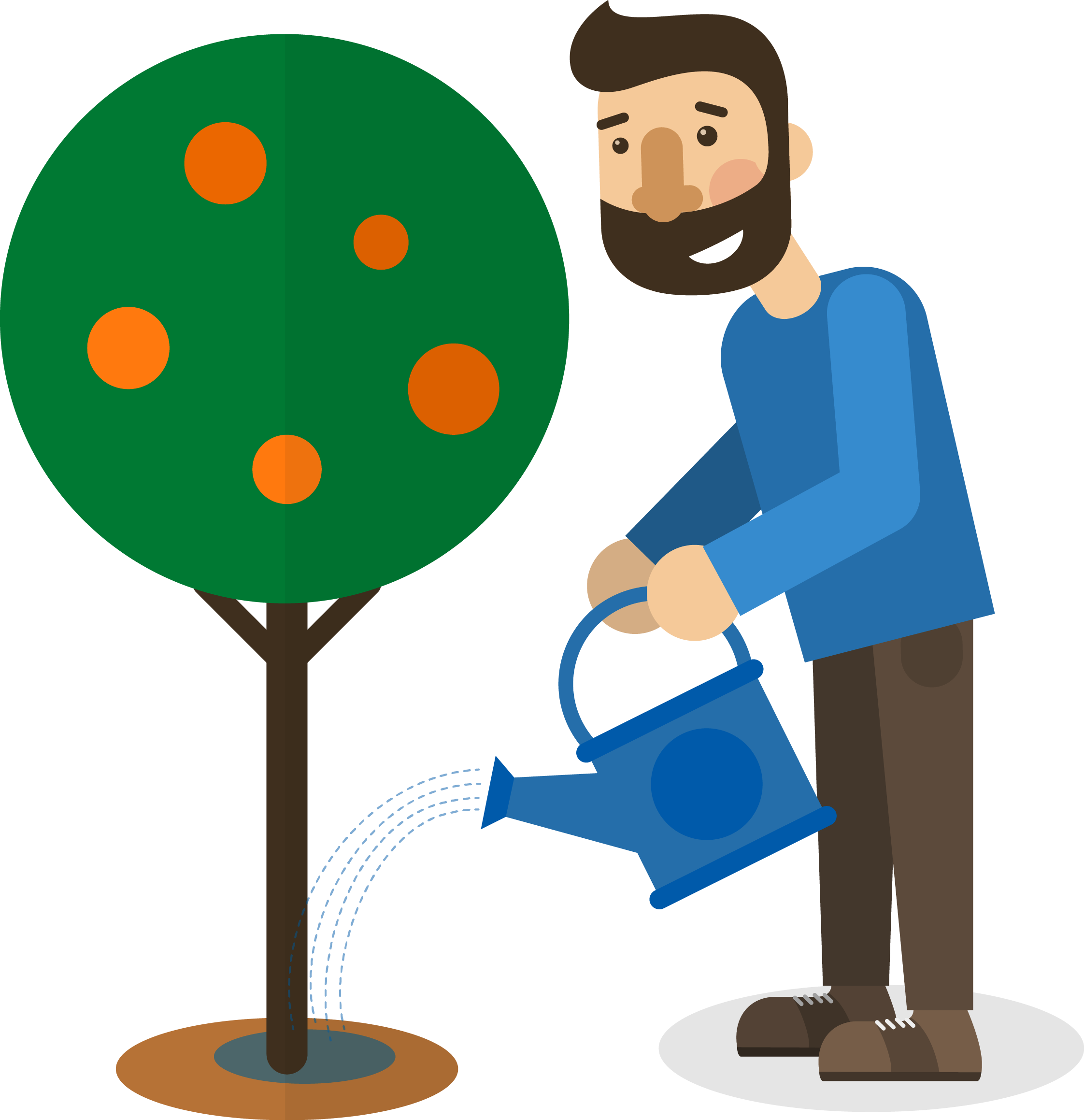 Planting clipart water plant. Tree garden man watering