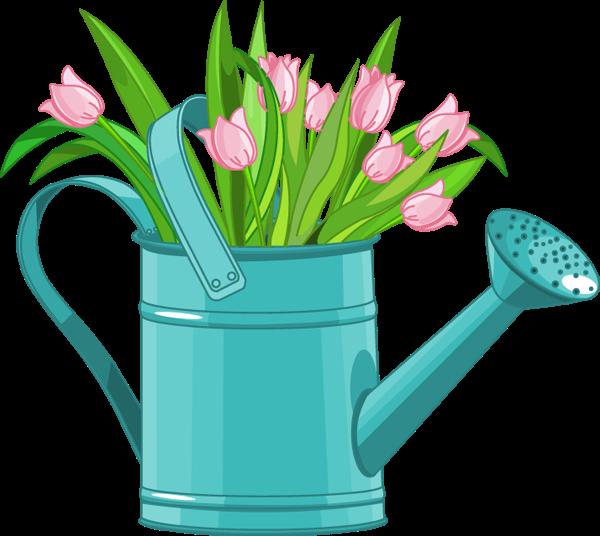 Forgetmenot garden cans tulips. Gardener clipart watering can