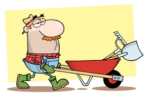 Illustration of a man. Working clipart yard cleanup