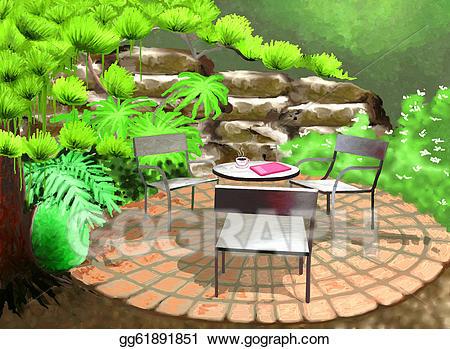 Stock illustration garden illustrations. Gardening clipart backyard gardening