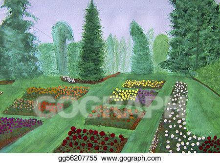 Gardening clipart botanical garden. Stock illustration rose portland