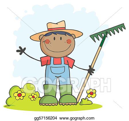 Vector black farmer illustration. Gardening clipart boy