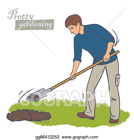 Gardening clipart dig. Vector art man digs