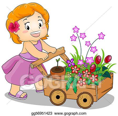 Gardening clipart flower cart. Stock illustration drawing gg
