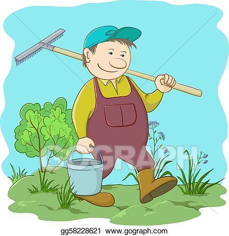 Vector stock gardener with. Gardening clipart garden work