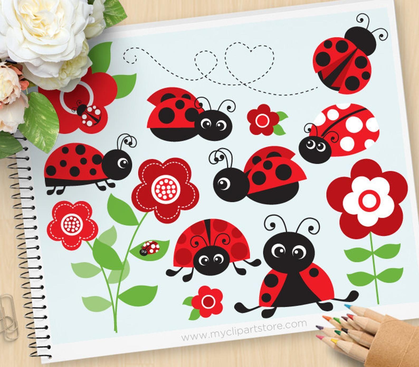 Ladybug red ladybugs ladybirds. Gardening clipart insect garden