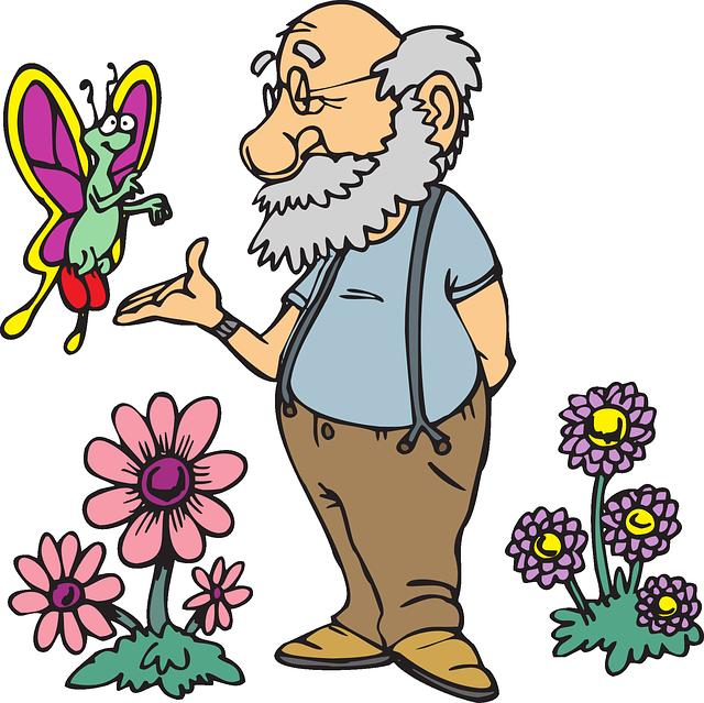 Gardening clipart old man. Emeryt m czy ni