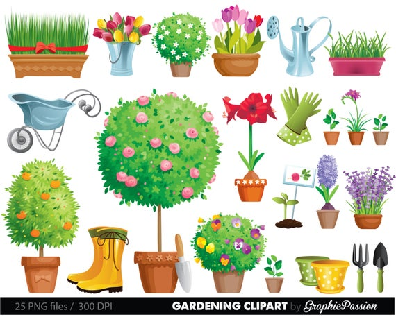 Garden tool and flowers. Gardening clipart plant care