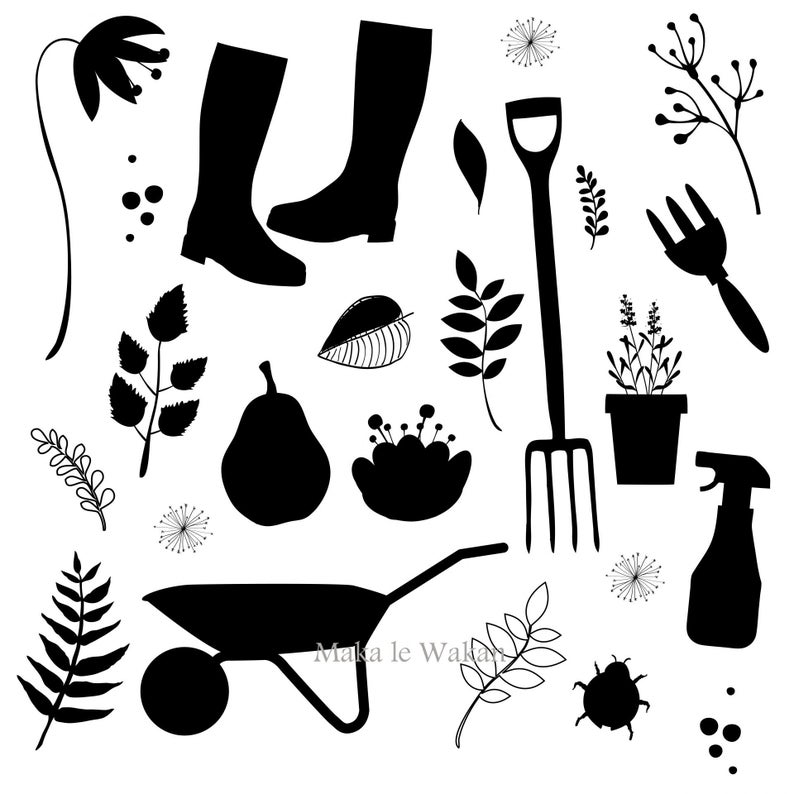 Tools digital collage sheet. Gardening clipart silhouette