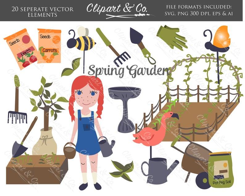 Gardening clipart useful material. Svg spring garden design