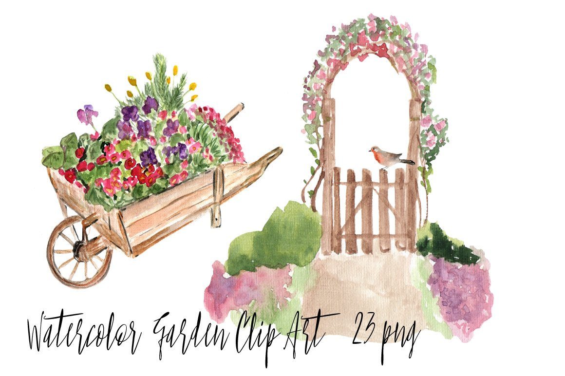 garden clip art. Gardening clipart watercolor