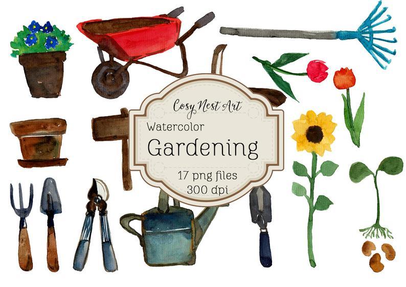 Set garden tools instant. Gardening clipart watercolor