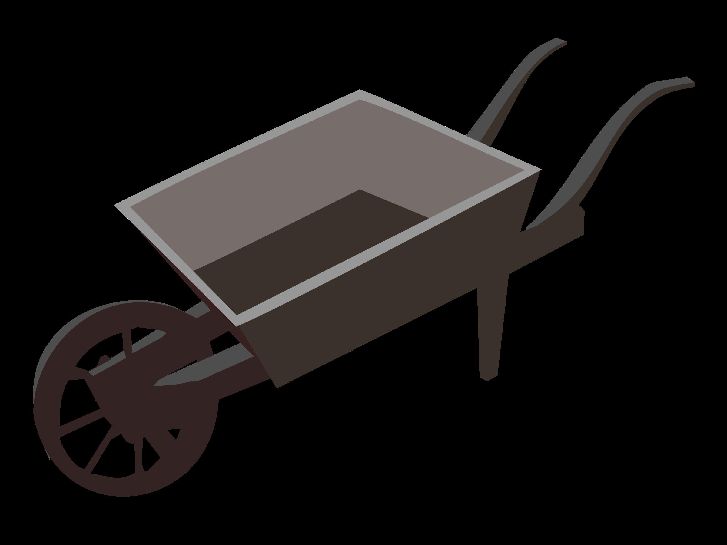Wheel barrow planter icons. Wagon clipart wood cart