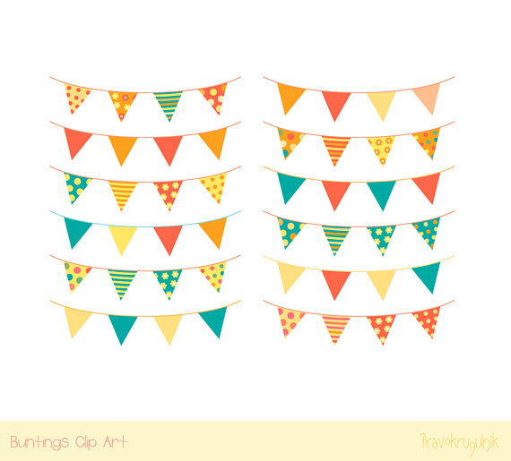 Garland clipart. Colorful birthday bunting clip