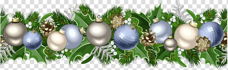 Christmas ornament deco silver. Garland clipart bauble