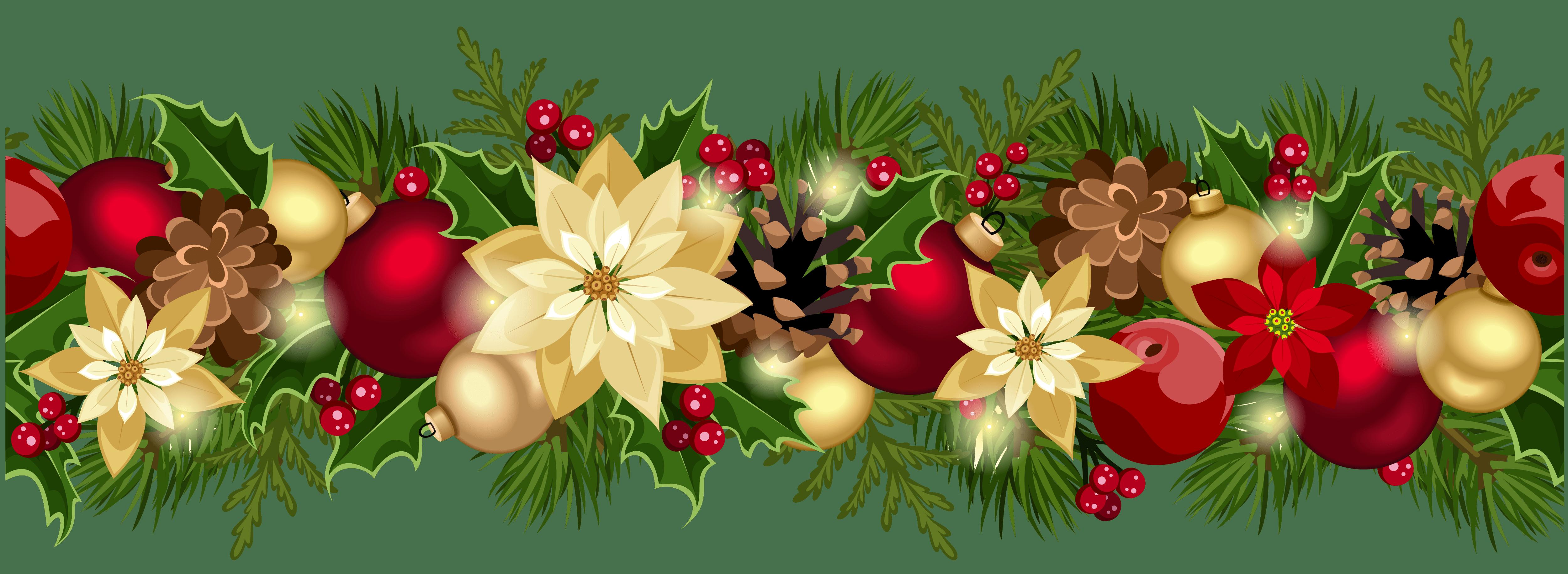Christmas garland border clip. Poinsettia clipart swag